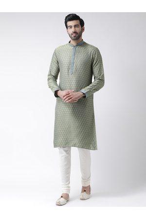 KISAH Men Green Self Design Kurta with Churidar