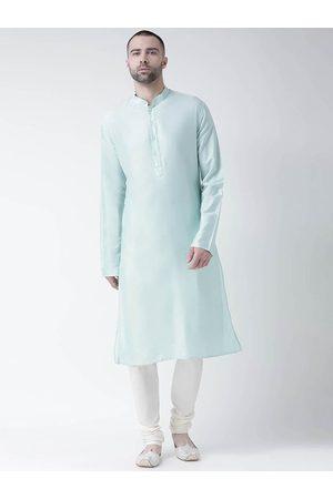 KISAH Men Blue & Off-White Solid Kurta with Churidar