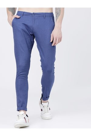 Highlander Men Blue Slim Fit Solid Cotton Chinos
