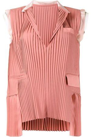 SACAI Pleated sleeveless blouse