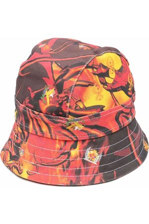 Liberal Youth Ministry Men Hats - Flame-print denim bucket hat