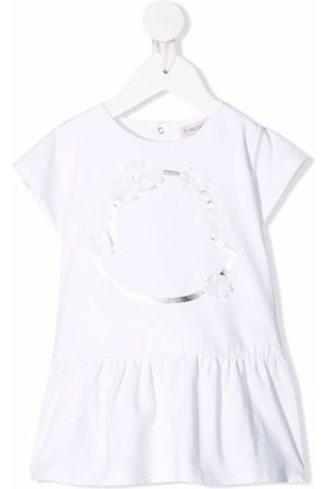 Moncler Baby Printed Dresses - Floral-embellished flared T-shirt dress