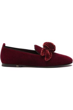 Dolce & Gabbana Men Footwear - Rose-appliqué velvet-effect slippers