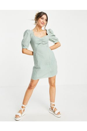 Nobody's Child Women Summer Dresses - Mini tea dress with puff sleeves in gingham