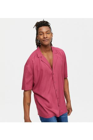 New Look Short sleeve shirt with deep revere collar in burgundy