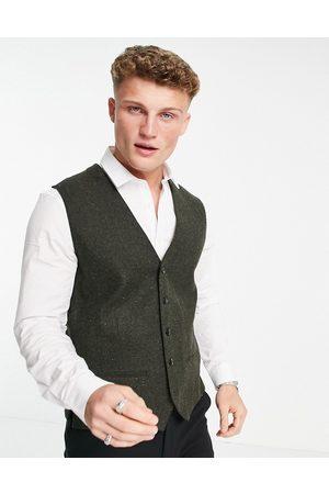 JACK & JONES Premium suit waistcoat in khaki nep