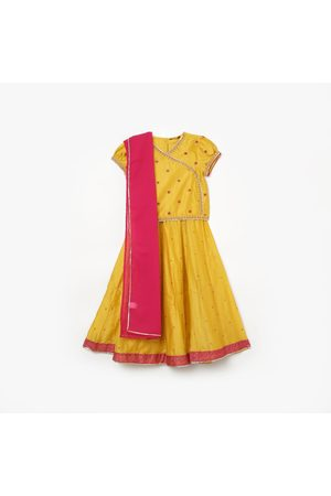 Melange Girls Embroidered Blouse with Printed Lehenga and Dupatta