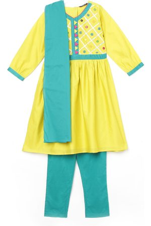 Melange Girls Mirror Embellshed A-Line Kurta with Salwar and Dupatta