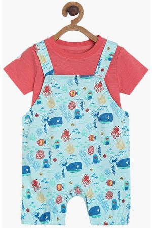 MINI KLUB FS Boys Printed Dungaree and a Solid T-shirt
