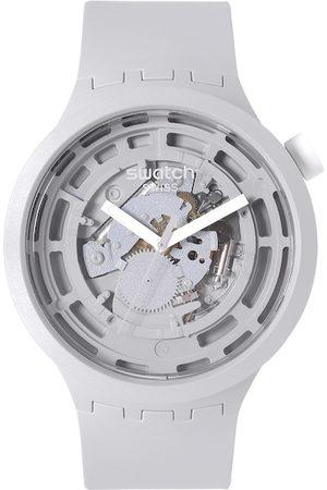 Swatch Unisex Grey Boost Swiss Made Skeleton Dial Analogue Watch SB03M100
