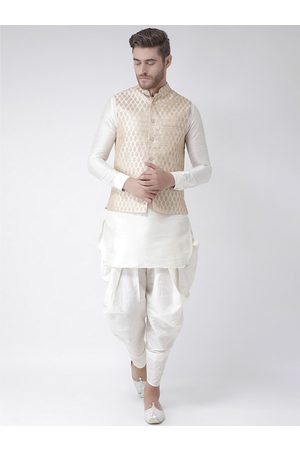 DEYANN Men Off-White & Gold Solid Kurta with Patiala & Nehru Jacket