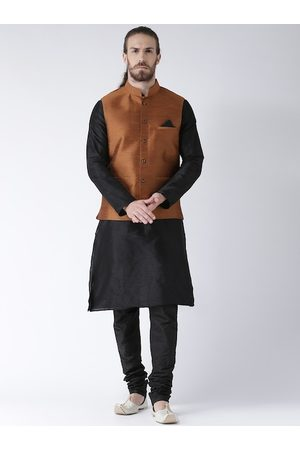 DEYANN Men Black & Coppe Solid Kurta with Churidar & Nehru Jacket