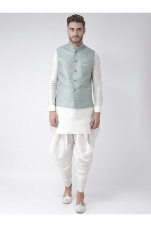 DEYANN Men Off-White & Turquoise Blue Solid Kurta with Patiala & Nehru Jacket
