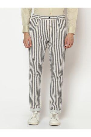 Blackberrys Men Beige & Black Slim Fit Striped Cotton Regular Trousers