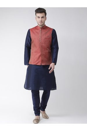 DEYANN Men Navy Blue Solid Kurta with Pyjamas & Nehru Jacket
