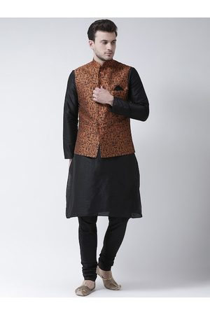 DEYANN Men Black Solid Kurta with Pyjamas & Nehru Jacket