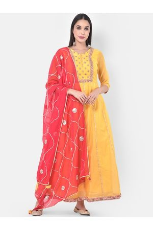 Neerus Women Evenings Dresses - Women Yellow Embroidered Gown with Dupatta