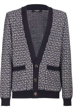 Balmain Monogram Wool Blend Knit Cardigan