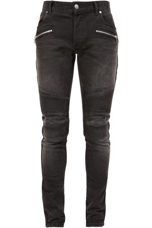 Balmain Monogram Rib Slim Cotton Denim Jeans