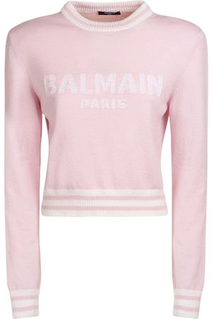 Balmain Women Jumpers - Logo Wool Blend Knit Cropped Sweater