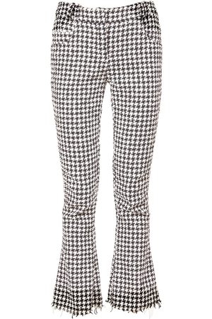 Balmain Houndstooth Cotton Blend Flared Pants