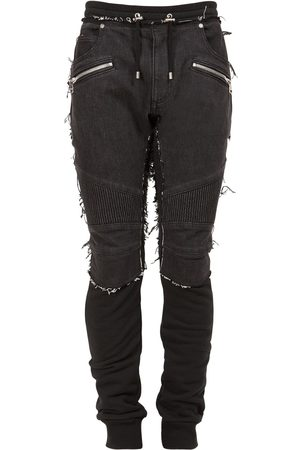 Balmain Cotton Denim & Jersey Jogger Jeans