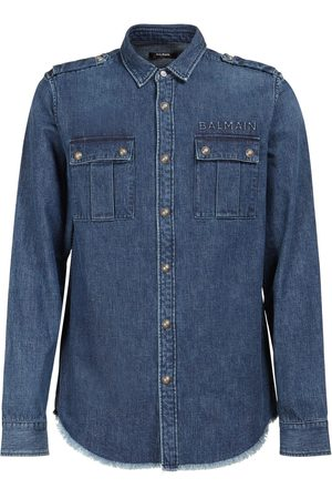 Balmain Embossed Logo Cotton Denim Shirt