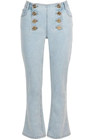 Balmain Flared Cotton Jeans W/ Buttons