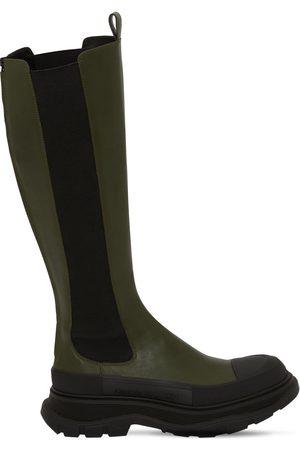 Alexander McQueen 40mm Tread Slick Leather Tall Boots