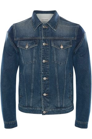 Alexander McQueen Men Denim Jackets - Graffiti Cotton Denim Jacket