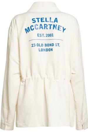 Stella McCartney Women Shirts - Logo Cotton Blend Twill Shirt Jacket