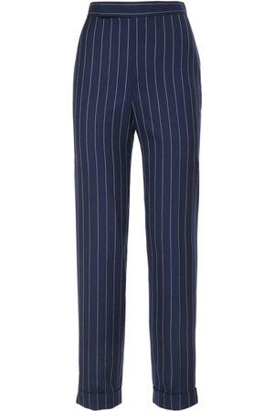 Ralph Lauren Wool Wide Stripe Suit Pants
