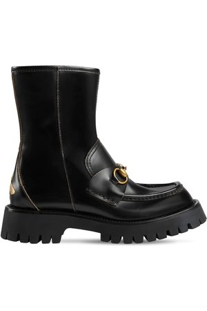 Gucci Women Ankle Boots - 25mm Leather Ankle Boots W/ Horsebit