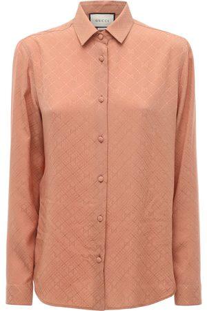 Gucci Women Shirts - Gg Print Silk Crepe Shirt