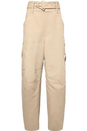 Bottega Veneta Women Trousers - Belted Double Cotton Canvas Pants