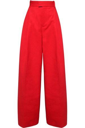 Bottega Veneta Women Wide Leg Trousers - High Waist Double Cotton Wide Leg Pants