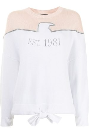 Emporio Armani Women Jumpers - Embroidered-logo panelled jumper