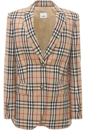 Burberry Women Blazers - Sidon Wool Check Blazer Jacket