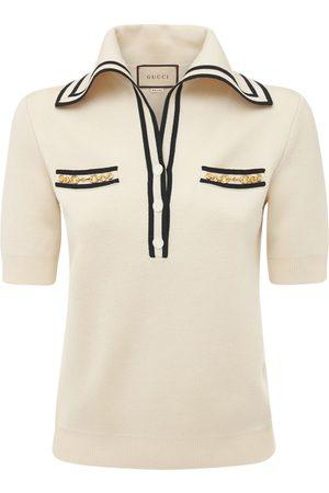 GUCCI Women Polo Shirts - Logo Wool Jacquard Polo Shirt