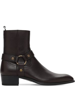 Saint Laurent Men Boots - 40mm Wyatt Belted Leather Cropped Boots