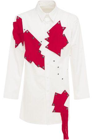 YOHJI YAMAMOTO Men Shirts - Long Cotton Shirt W/ Patches