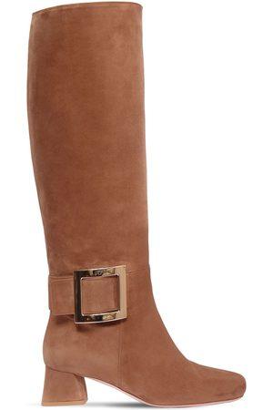 Roger Vivier Women High Leg Boots - 45mm Trés Viivier Suede Tall Boots