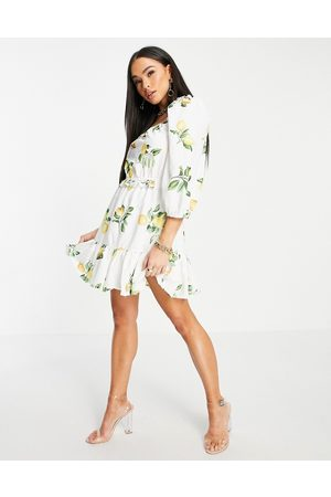 In The Style X Stacey Solomon puff sleeve ruched mini smock dress in summer lemon print