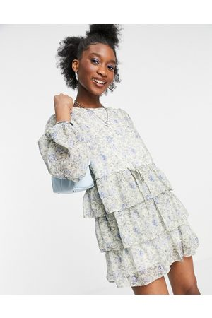 In The Style X Lorna Luxe balloon sleeve tiered smock dress in blue floral