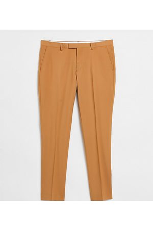 Twisted Tailor TALL tapered cropped trousers in tan