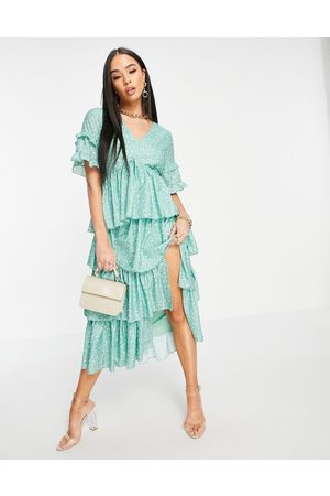 In The Style X Stacey Solomon tiered ruffle midi dress in green floral print