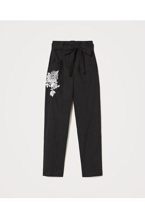 Twin-Set Poplin pants with embroidery 211TT2473 00006