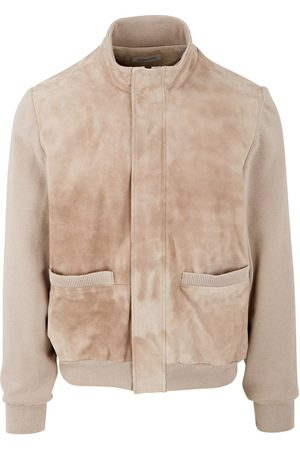 corneliani Suede & Cashmere Mix Knitted Bomber (Beige)