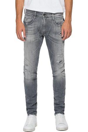 Replay Anbass Slim Jeans - Aged Eco 10 Year Grey Rip & Repair