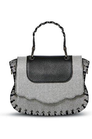 THALÈ BLANC Audrey Crossbody: Luxury Crossbody Bag, Black/White Striped